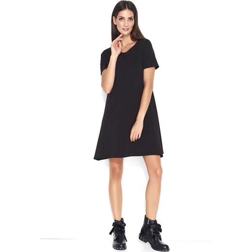 14160182d1 Czarna Trapezowa Sukienka Dzianinowa z Krótkim Rękawem Makadamia M MOLLY.