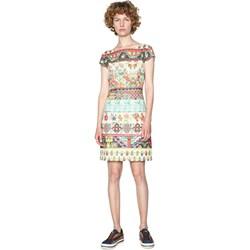 1b30cdb2e7 Sukienka Desigual na spacer casual dla puszystych w kwiaty z krótkim  rękawem mini