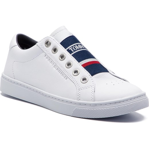 80ad45f3624d0 Sneakersy TOMMY HILFIGER - Tommy Elastic City Sneaker FW0FW04019 White 100 Tommy  Hilfiger 37 eobuwie.