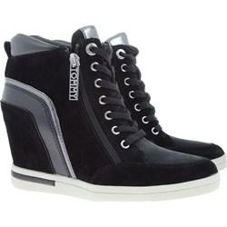 7ccc3967b3cef Sneakersy damskie Tommy Hilfiger skórzane sznurowane na koturnie młodzieżowe