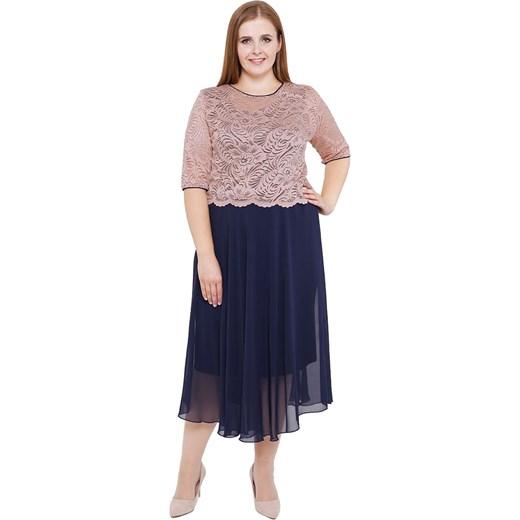 13f486e08b Sukienka midi z krótkim rękawem prosta elegancka z okrągłym dekoltem  koronkowa