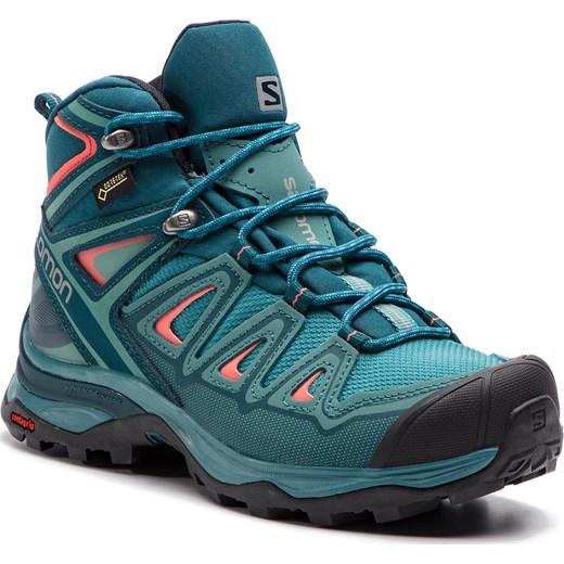 Buty trekkingowe damskie Salomon ze skóry ekologicznej miętowe bez wzorów na płaskiej podeszwie