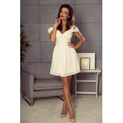 655ed4e04a Beżowa sukienka Bergamo z krótkim rękawem mini