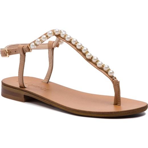 Sandały damskie Eva Minge z aplikacją płaskie z tworzywa sztucznego casualowe z klamrą Buty Damskie UA brązowy Sandały damskie PFOZ