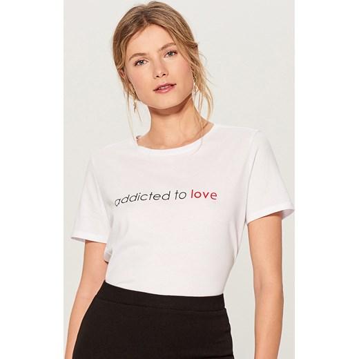a47c90a8b3b803 ... Mohito - Koszulka z hasłem - Biały Mohito S Bluzka damska Mohito z okrągłym  dekoltem młodzieżowa z krótkimi rękawami