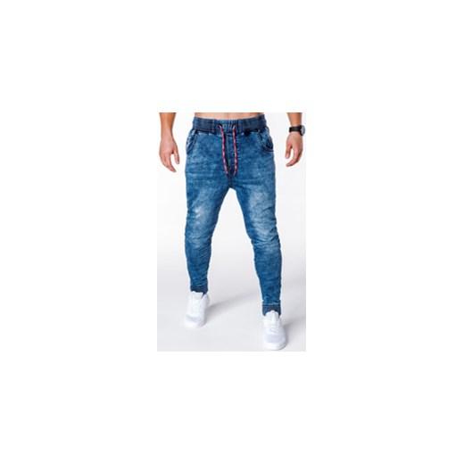 77f26aa2142cab SPODNIE MĘSKIE JEANSOWE JOGGERY P650 - NIEBIESKIE Ombre Clothing w ...