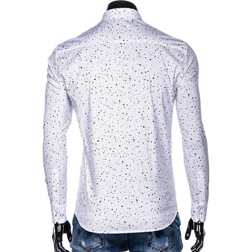 116989023 ... Koszula męska biała Ombre Clothing w abstrakcyjne wzory młodzieżowa ...