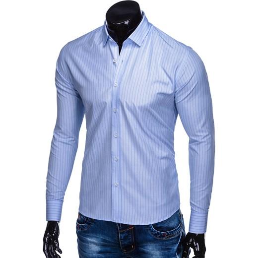 7d0de61fdabf83 ... długim rękawem bawełniana; Koszula męska niebieska Ombre Clothing z  klasycznym kołnierzykiem jesienna ...