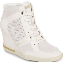 2f6cb9ce7af8e Sneakersy damskie Tommy Hilfiger na koturnie młodzieżowe sznurowane skórzane
