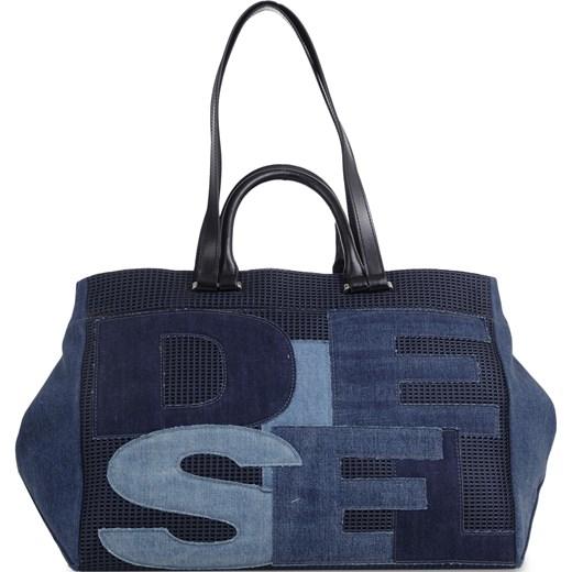 74bab1309b5d4 Shopper bag niebieska Diesel z aplikacjami duża w Domodi