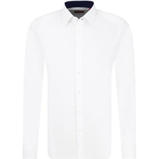 c5a4fd9bda121 Koszula męska biała Hugo Boss z klasycznym kołnierzykiem elegancka z długim  rękawem gładka ...