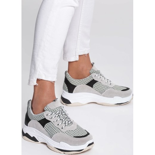 Sneakersy damskie Renee szare sportowe zamszowe w kratkę