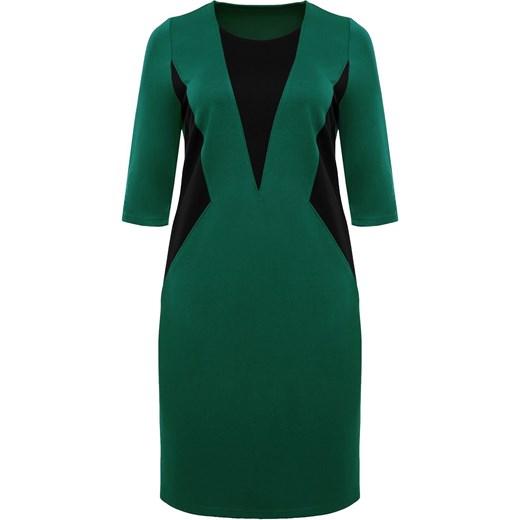 01c7af25c6 ... Sukienka do pracy elegancka z wiskozy dla puszystych gładka