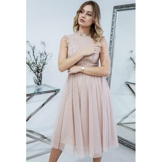 c752cb47 Sukienka elegancka rozkloszowana bez rękawów z okrągłym dekoltem