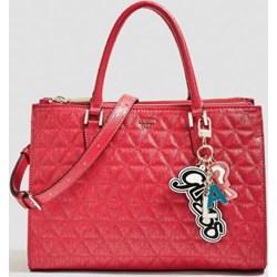 09a18136e4ffc Shopper bag Guess z breloczkiem bawełniana średniej wielkości pikowana