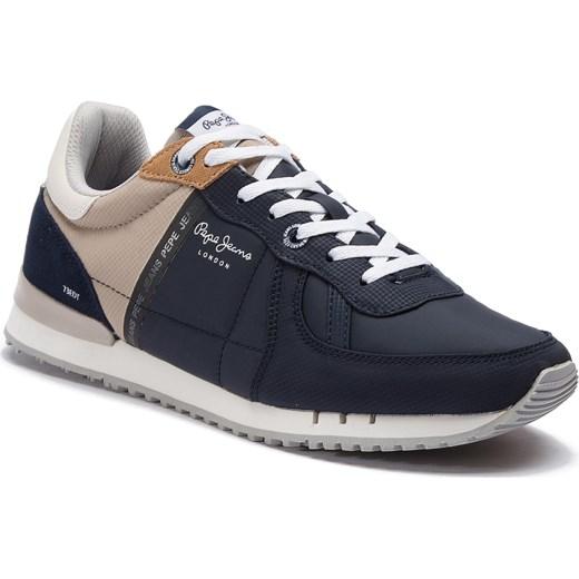 fc9ce204 Niebieskie buty sportowe męskie Pepe Jeans jesienne z tworzywa sztucznego  wiązane
