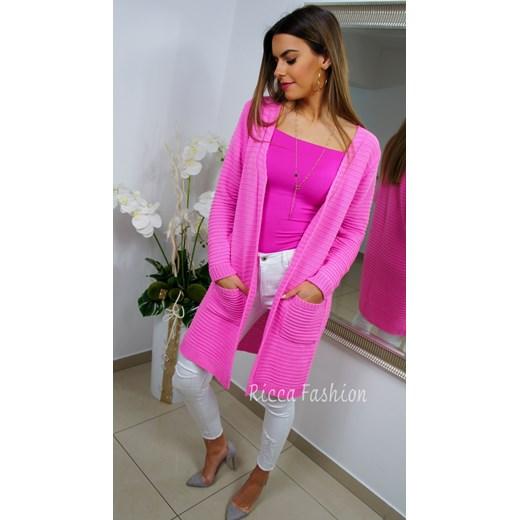 04a9ee78f49b27 Kardigan sweter CANDICE barbie róż uniwersalny Ricca Fashion ...