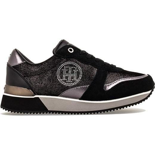 f5754e6544623 Sneakersy damskie Tommy Hilfiger sznurowane bez wzorów skórzane płaskie