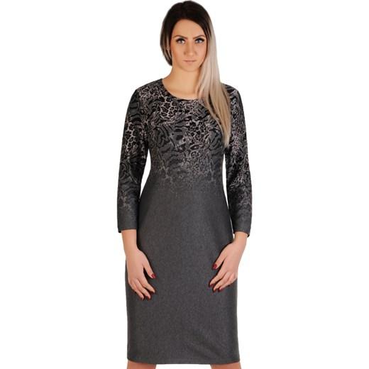 ea3995d9d4 Sukienka Lamar dopasowana z poliestru w zwierzęcy wzór midi w Domodi