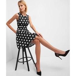 98b12737dd54fa Sukienka ORSAY w groszki czarna z tkaniny mini na spotkanie biznesowe retro