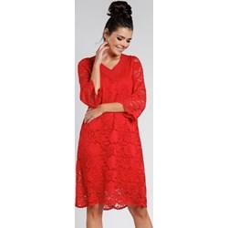 f7398e269e Sukienka Pepe czerwona oversize z długim rękawem luźna na wesele