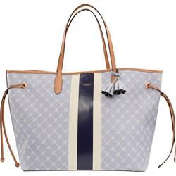 16f96a491d362 Shopper bag Joop! na ramię szara duża z breloczkiem casual z nadrukiem