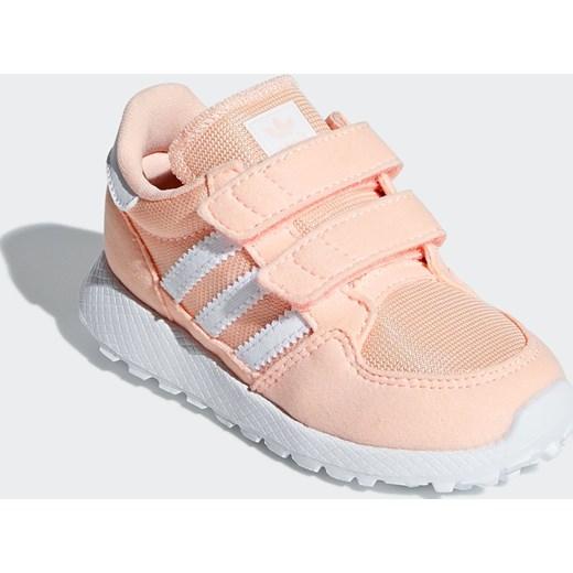 f436aa4707cf6 Buty sportowe dziecięce Adidas Originals na rzepy bez wzorów różowe ...