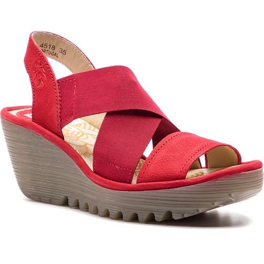 Sandały damskie Fly London na wysokim obcasie z tworzywa sztucznego bez zapięcia casualowe na koturnie Buty Damskie IN różowy Sandały damskie VSDQ