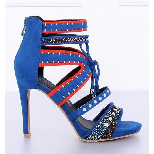 Darmowa dostawa Sandały damskie niebieskie ze skóry