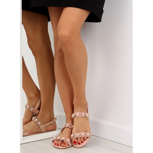 Sandały damskie różowe casual bez obcasa na płaskiej podeszwie w kwiaty Buty Damskie VY różowy Sandały damskie CWRR