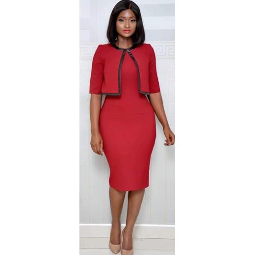 3ca5ff0caa Sukienka czerwona Elegrina do pracy z krótkimi rękawami midi z okrągłym  dekoltem dopasowana ...