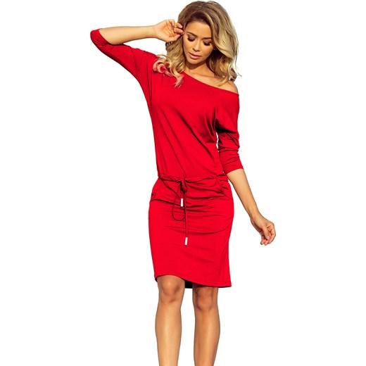031561f7bc Sukienka Numoco czerwona midi z wiskozy sportowa bez wzorów na spacer