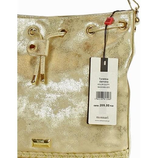 f61c13b7e557c Złota torebka Monnari wakacyjna na ramię matowa średnia w Domodi
