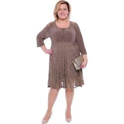 c75565b012 Sukienka dla puszystych z długim rękawem biznesowa z okrągłym dekoltem midi