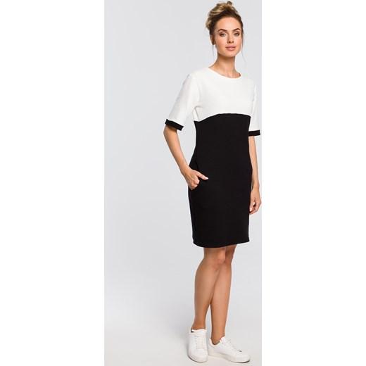 0762528d40 ... Sukienka Moe czarna mini z okrągłym dekoltem z krótkimi rękawami  dopasowana ...