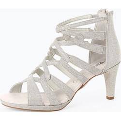 7e1a1edaa5d3f Sandały damskie Tamaris eleganckie srebrne skórzane na średnim obcasie na  słupku