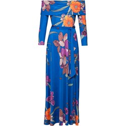 00434600d3 Sukienka Bodyflirt Boutique z długimi rękawami maxi z dekoltem typu  hiszpanka niebieska na studniówkę