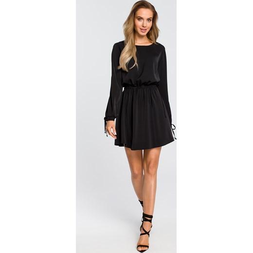 4290ae9e76 Sukienka czarna Moe z długim rękawem z okrągłym dekoltem gładka biznesowa  mini ...