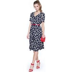 fff1b96466 Granatowa sukienka L af na spacer midi z dekoltem w serek