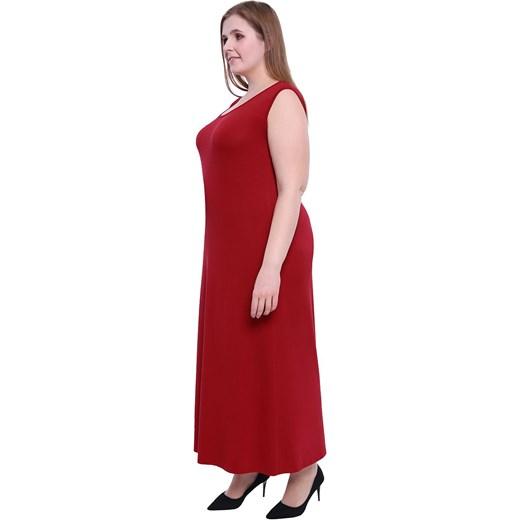 d1efba7d33e ... Sukienka na randkę dla puszystych z okrągłym dekoltem maxi z elastanu