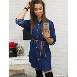 7a5546d6c9 Sukienka Dstreet niebieska koszulowa w miejskim stylu bez wzorów mini z  długimi rękawami na uczelnię