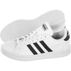 7709ddde Trampki damskie Adidas nike court białe bez wzorów z niską cholewką  sznurowane ze skóry ekologicznej na