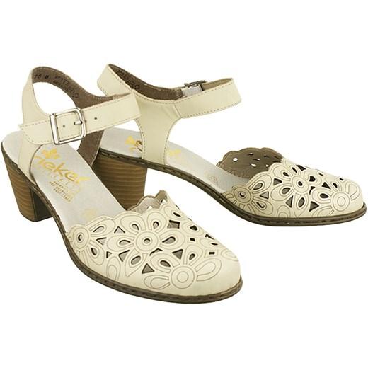 Czerwone sandały damskie Rieker płaskie bez wzorów ze skóry