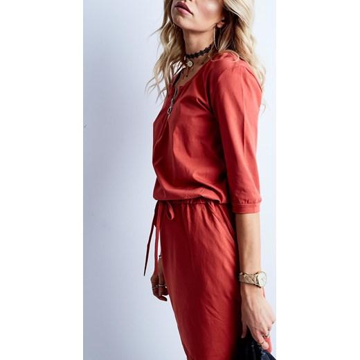 52874ec99d ... Sukienka bawełniana z zameczkiem przy dekolcie pomarańczowa Yups XL ...