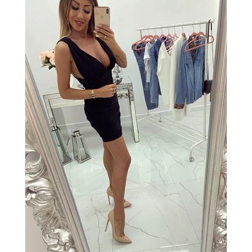 e6a9209070dfb Sukienka mini czarna na imprezę z dekoltem v dopasowana bez rękawów ...