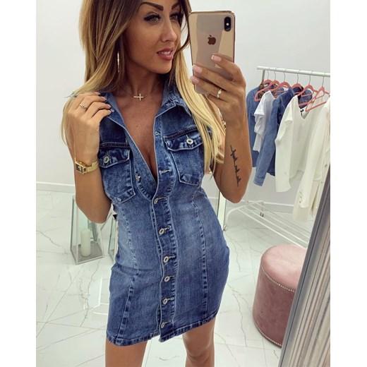4b7ddef24b ... Sukienka mini casual bez rękawów z dekoltem v  Sukienka z jeansu z dekoltem  v ...