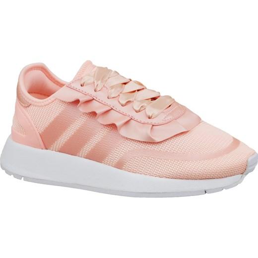 Różowe buty sportowe damskie Adidas sneakersy sznurowane na koturnie bez wzorów