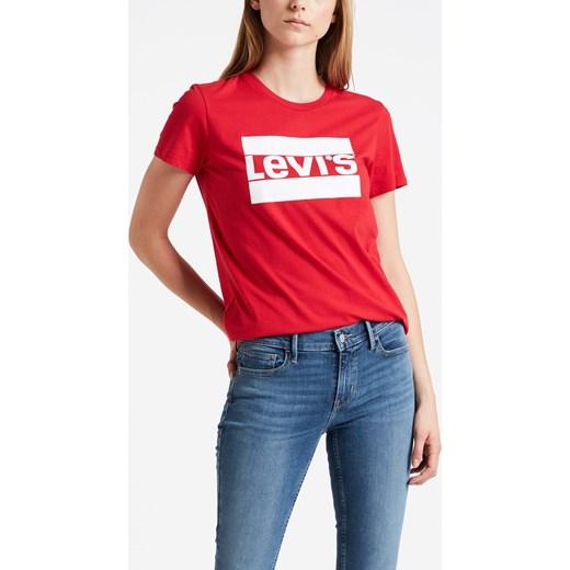 6527be720 Bluzka damska Levi's z krótkim rękawem czerwona z okrągłym dekoltem ...