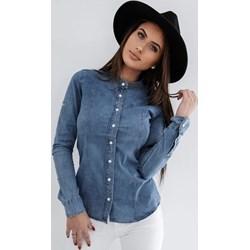 0eefba88422c56 Koszula damska z elastanu niebieska bez wzorów