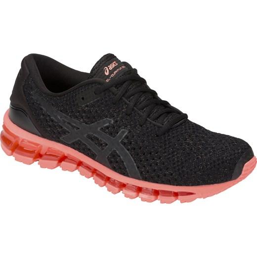 Buty sportowe damskie Asics do biegania czarne bez wzorów na płaskiej podeszwie sznurowane